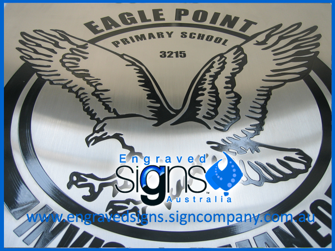 Engraved Eagle on Metal Sign. Manufactured for Eagle Point Primary School